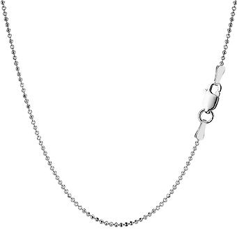 Sterling Silver Rhodium Plated Bead Chain Necklace, 1,2mm