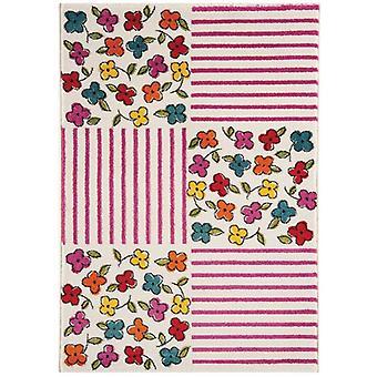 Farverige Pink & Multi farvede blomster børn kludetæppe soveværelse
