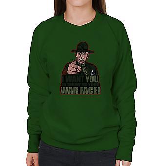 War Face Gunnery Sgt. Hartman Full Metal Jacket Women's Sweatshirt