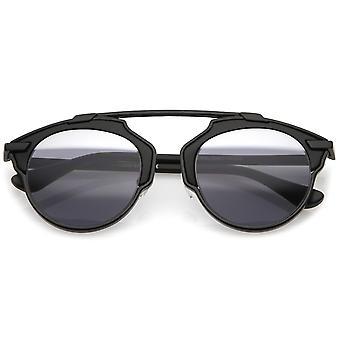 Modern Metal Crossbar Partial Mirrored Lens Pantos Aviator Sunglasses 48mm