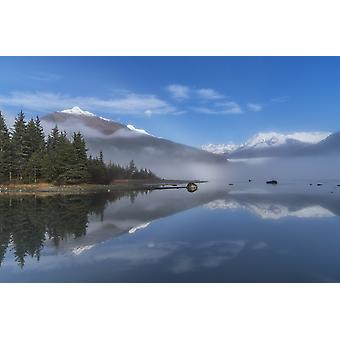 Foggy morning at Mendenhall Lake Tongass National Forest Juneau Alaska United States of America Poster Print by John Hyde  Design Pics
