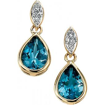 Elements Gold Kaleidoscope 9ct Gold Topaz and Diamond Pave Drop Earrings - London Blue/Gold