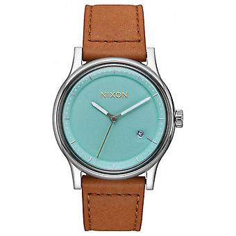Nixon The Station Leather Watch - Light Blue/Brown