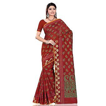 Rotbraun mit grünen Blatt Kunst Seide indischen Sari Sari wickeln Bauchtanz Stoff