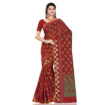 Maroon met groene blad kunst Silk Indiase saree Sari Wrap buikdansen stof