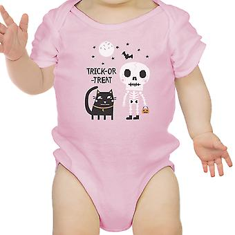 Skeleton Black Cat Baby Halloween Bodysuit Pink Gift For Baby Girl