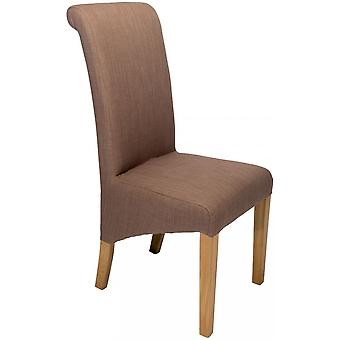 Classic Roll Top Fabric Dining Chair - Mink