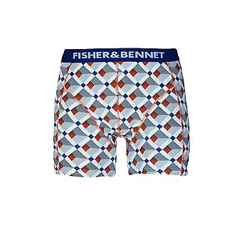 Fisher & Bennet Fisher And Bennet Mens Cotton Stretch Multi-Coloured Check Boxer Shorts