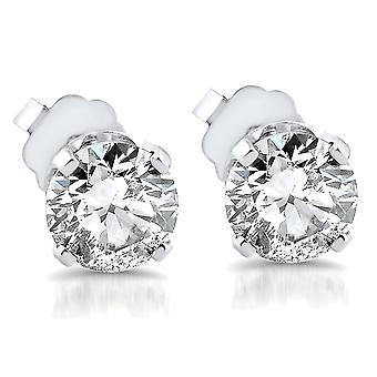 3/4ct Round Diamond Studs 14K White Gold