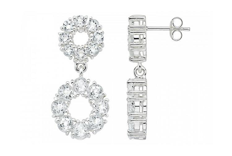 Affici Diamond CZ Drop Earrings Sterling Silver plated with 18ct White Gold