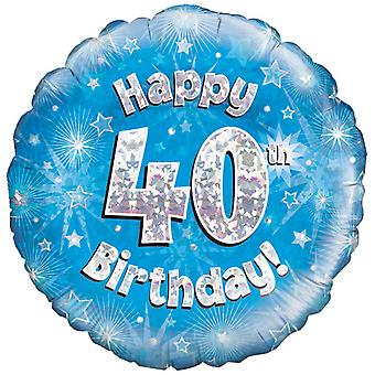 Oaktree 18 Inch Happy 40th Birthday Blue Holographic Balloon