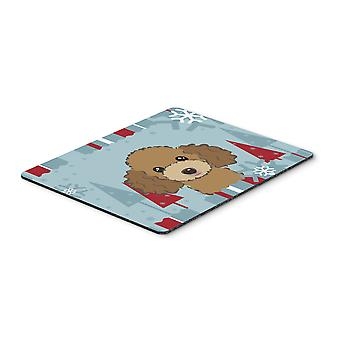 Winter Holiday Chocolate Brown Poodle Mouse Pad, Hot Pad or Trivet