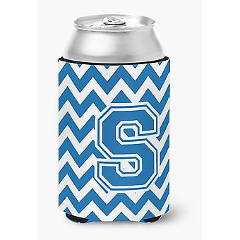 Letter S Chevron Blue and White Can or Bottle Hugger