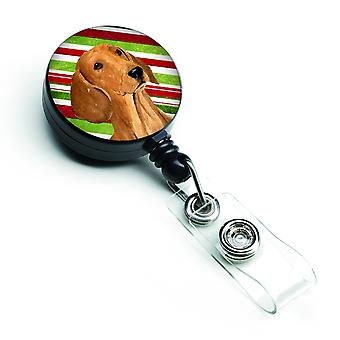 Dachshund Candy Cane Holiday Christmas Retractable Badge Reel