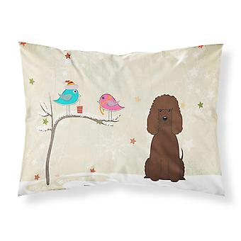 Christmas Presents between Friends Irish Water Spaniel Fabric Standard Pillowcas
