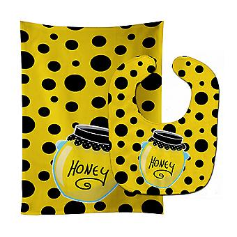 Carolines Treasures  BB8598STBU Bee Honey Jar on Polkadots Baby Bib & Burp Cloth