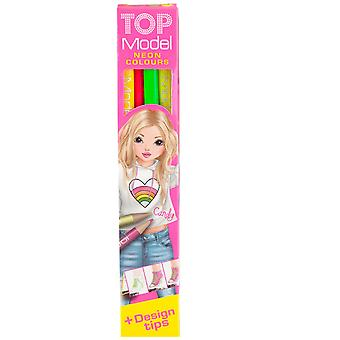 TOPModel 4 Neon farve blyanter med Design Tips