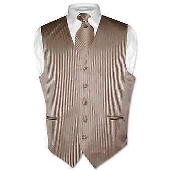 Men's Dress Vest NeckTie Vertical Striped Design Neck Tie Set