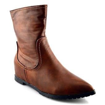 Ladies Womens New Fashion Zip Pointed Grip Sole Brown Ankle Boots Shoes