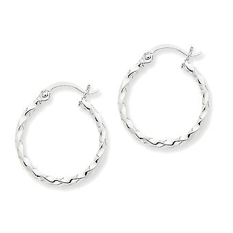 14k White Gold Twisted Polished Round Hoop Earrings - 15mm