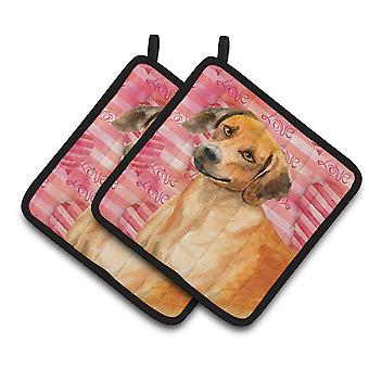 Carolines Treasures  BB9763PTHD Rhodesian Ridgeback Love Pair of Pot Holders