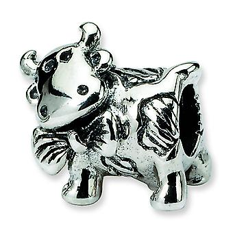 Sterling Silver Polished Antique finish Reflections Dairy Cow Bead Charm