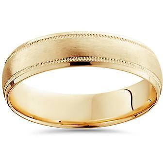 Мужская щеткой комфорта нужным обручальное кольцо 14k желтое золото