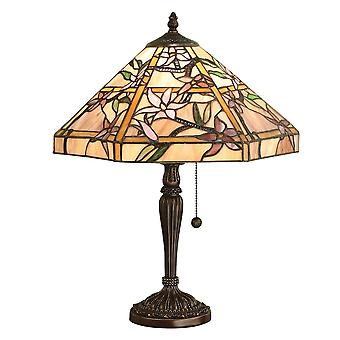 Interiors 1900 64021 Clematis 2 Light Tiffany Glass Table Lamp In Bron