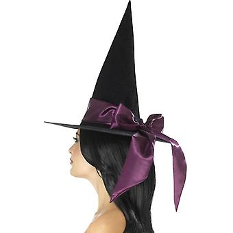 Smiffys Deluxe Witch Hat Black With Purple Bow (Babies and Children , Costumes)