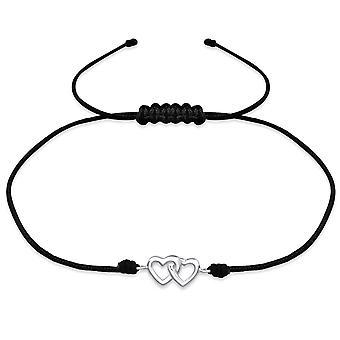 Hearts - 925 Sterling Zilver + Nylon koord snoer armbanden - W31771X