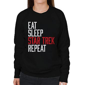 Eat Sleep Star Trek Repeat Women's Sweatshirt