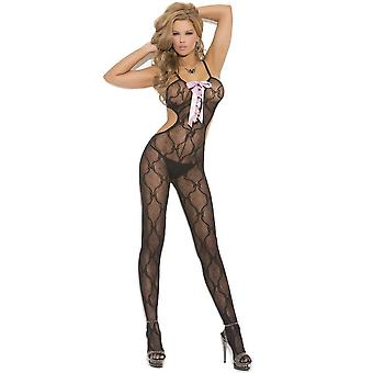 Elegant Moments EM-1662 Bow Tie Bodystocking open crotch also in plus size