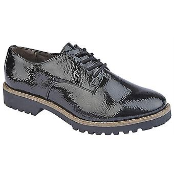 Ladies Womens Lace Up Oxford Hi Shine Casual Smart Office Shoes
