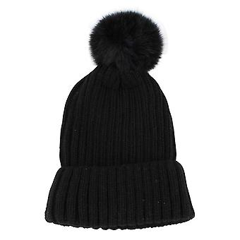 Redlinch Fur Bobble Beanie - Black