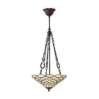 Interiör 1900 pärla Classic Tiffany 3 lätta tak hänge Wit