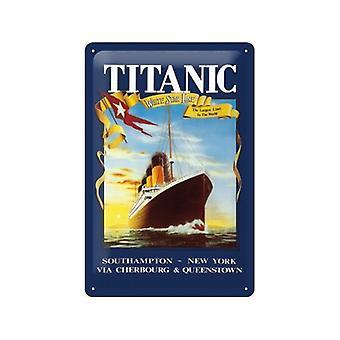 Titanic weiße Sterne geprägtem Metall unterzeichnen 200 X 300 Mm