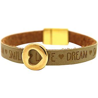 Gemshine Damen Armband Herz Liebe WISHES Braun Sand Magnetverschluss
