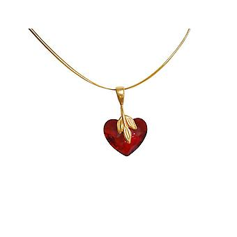 Gemshine - women - heart - pendant - necklace - gold plated - * red magma * - red - MADE WITH SWAROVSKI ELEMENTS® - 45 cm