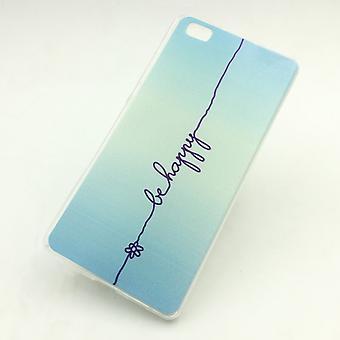 Handy Hülle für Huawei P8 Lite Be Happy Blau Tasche Cover Case + 1x Panzer Schutz Glas