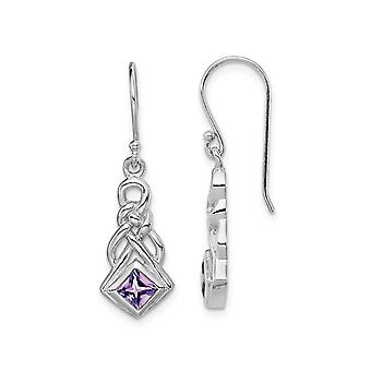 Natural Square Amethyst Drop Earrings in Sterling Silver