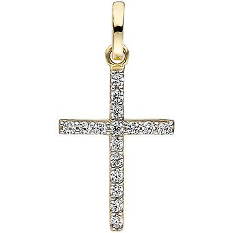 Pendant cross narrow 375 gold yellow gold 16 cubic zirconia cross pendant, gold cross