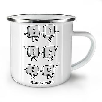 Smiley Key Happiness NEW WhiteTea Coffee Enamel Mug10 oz | Wellcoda