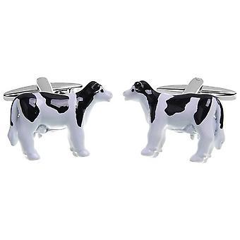 Zennor Cow Cufflinks - White/Black/Silver