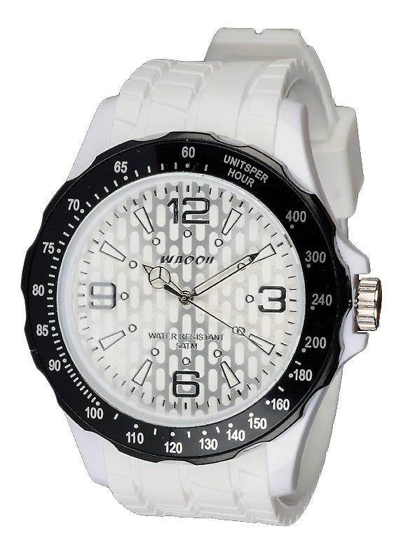 Waooh - Silicone Watch White With A Black Tabs Waooh Gpm48 Inspired From Monaco Grand Prix