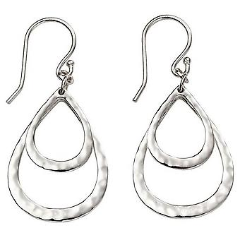 Beginnings Hammered Double Teardrop Earrings - Silver