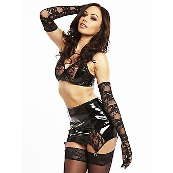Honour Women's Sexy Lace Girdle in PVC Purble Vintage Style Fetish Fashion