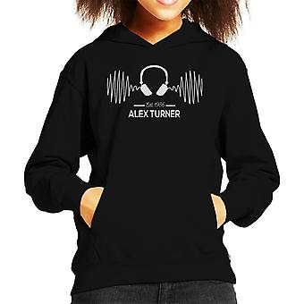 Alex Turner Est 1986 Headphones Frequency Kid's Hooded Sweatshirt