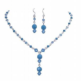 Custom Made Swarovski Aqua & Turquoise Crystals Jewelry Set