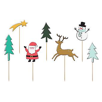 Christmas Character Printed Card Cake Topper Set - 7 Shapes