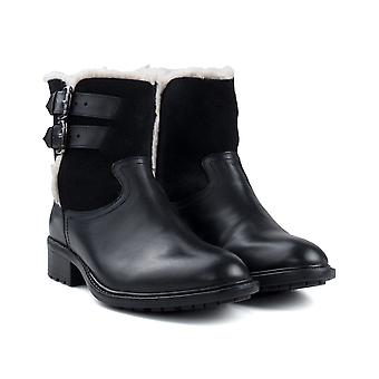 Ladies black leather suede fur lined boot boot